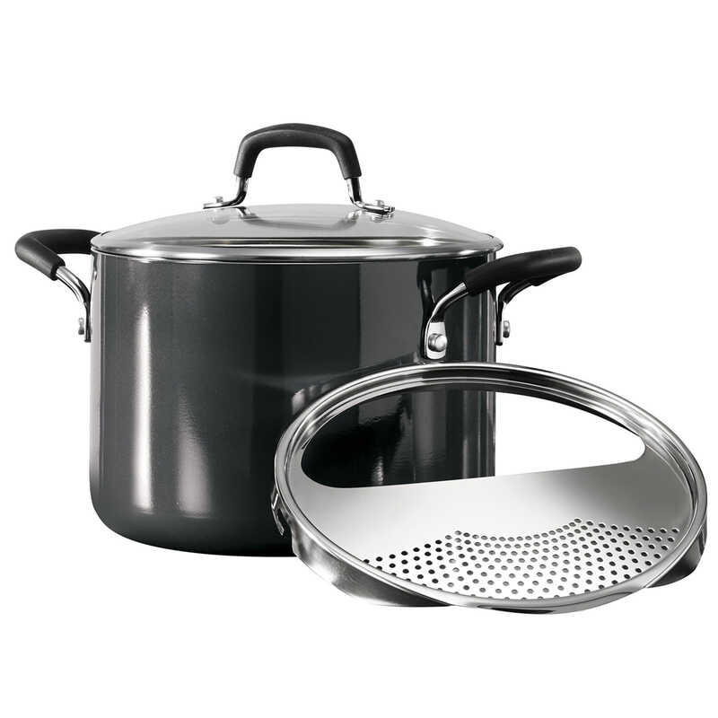 Tramontina  Aluminum  Pasta Pot  9 in. 6 Quart  Gray