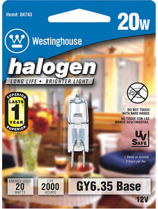 Westinghouse  20 watts T4  Decorative  Halogen Bulb  300 lumens White  1 pk