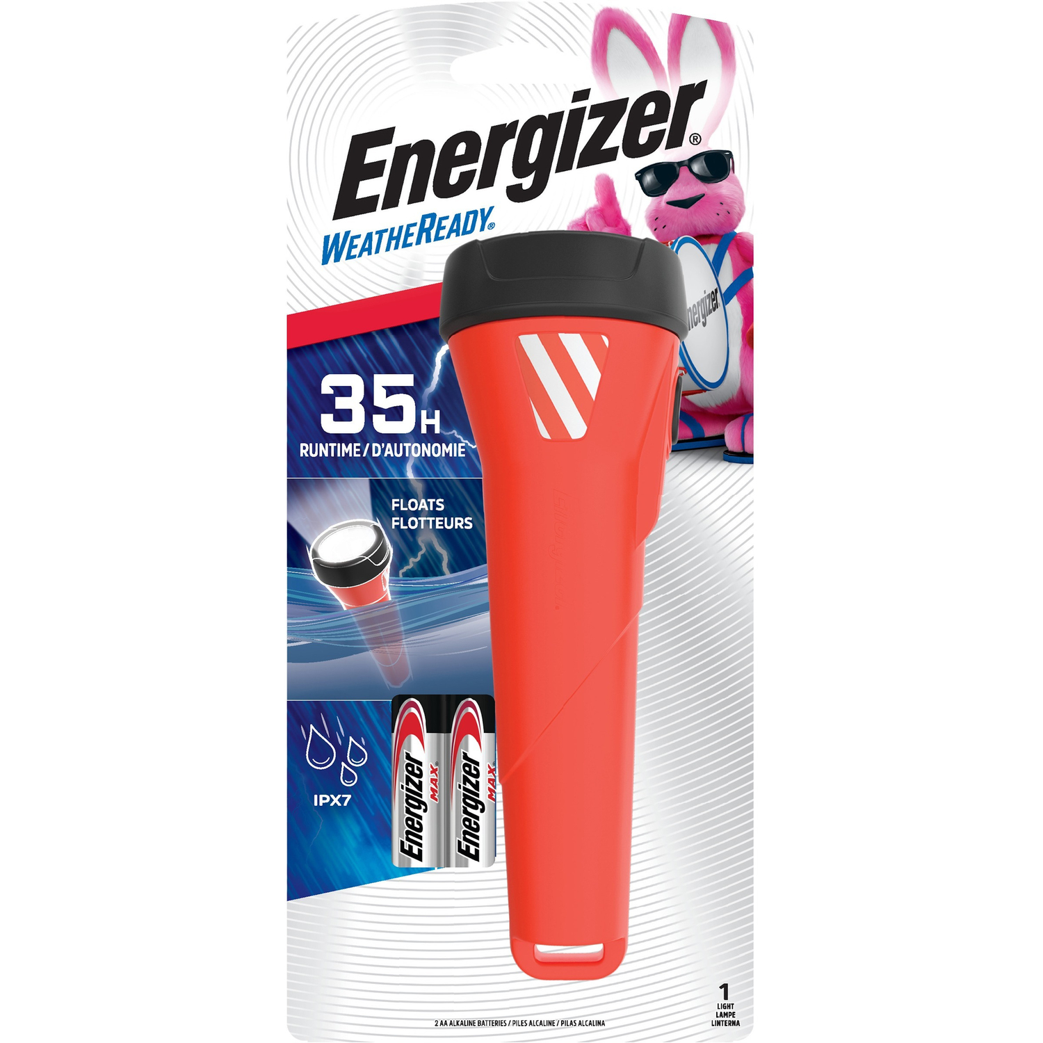 Energizer  Weatheready  55 lumens Black/Red  LED  Flashlight  AA