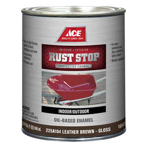 Ace  Rust Stop  Indoor and Outdoor  Gloss  Brown  Interior/Exterior  Rust Prevention Paint  1 qt.
