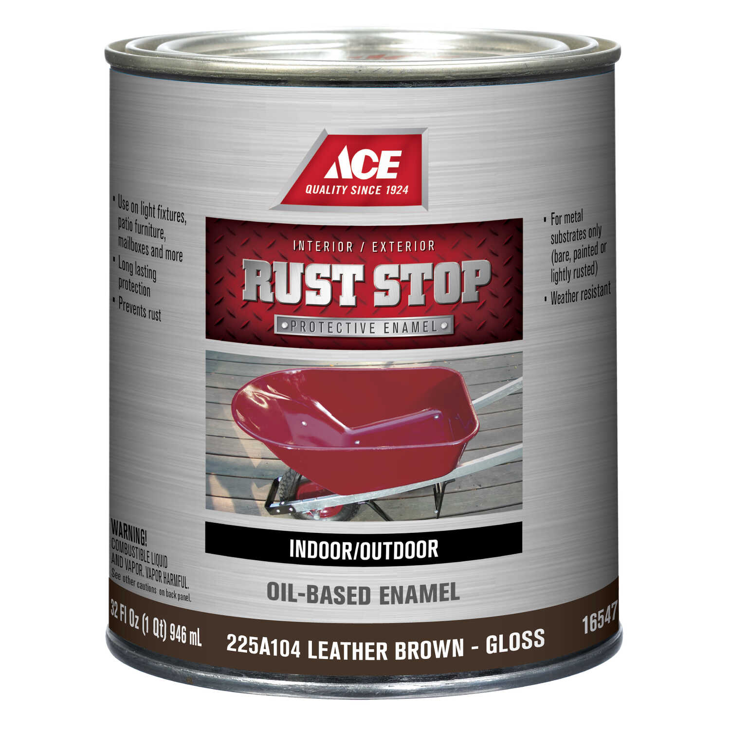 Ace  Rust Stop  Indoor and Outdoor  Gloss  Brown  Rust Prevention Paint  1 qt.