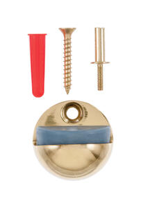 Ace  1-1/8 in. H x 1 in. W Solid Brass w/Rubber Stop  Gold  Door Stop  Mounts to floor