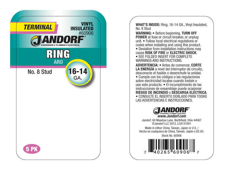 Jandorf  16-14 Ga. Insulated Wire  Terminal Ring  Blue  5 pk