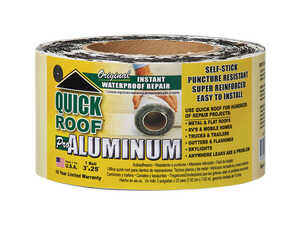 Quick Roof  3 in. H x 3 in. W x 25 ft. L Silver  Aluminum  Self Stick Instant Waterproof Repair and