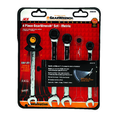 Ace Multiple x 7.5 in. L Metric Gearwrench Set 4 pc.
