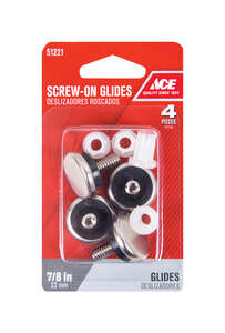 Ace  7/8 in. W Nickel  0.88 in. Threaded  Chair Glide  4