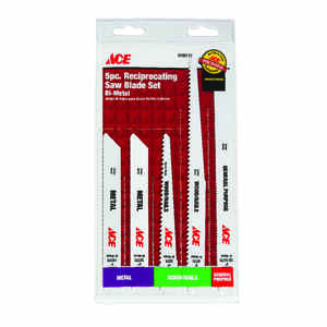 Ace  6 & 9 in. Bi-Metal  Reciprocating Saw Blade  14 TPI 5 pk