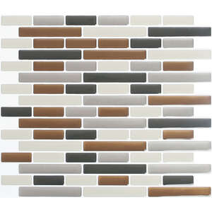 Peel and Impress  9.3 in. W x 11 in. L Multiple Finish (Mosaic)  Vinyl  Adhesive Wall Tile  Brown  4