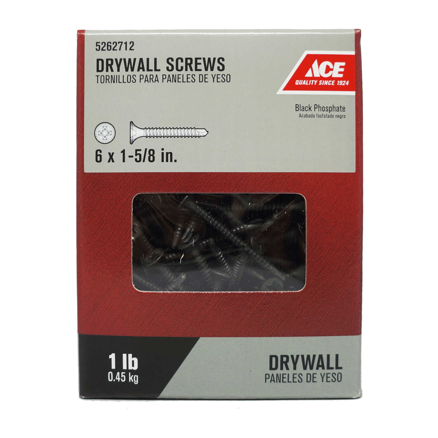 Ace  No. 6   x 1-5/8 in. L Phillips  Bugle Head Black Phosphate  Steel  Drywall Screws  1 lb. 202 pk