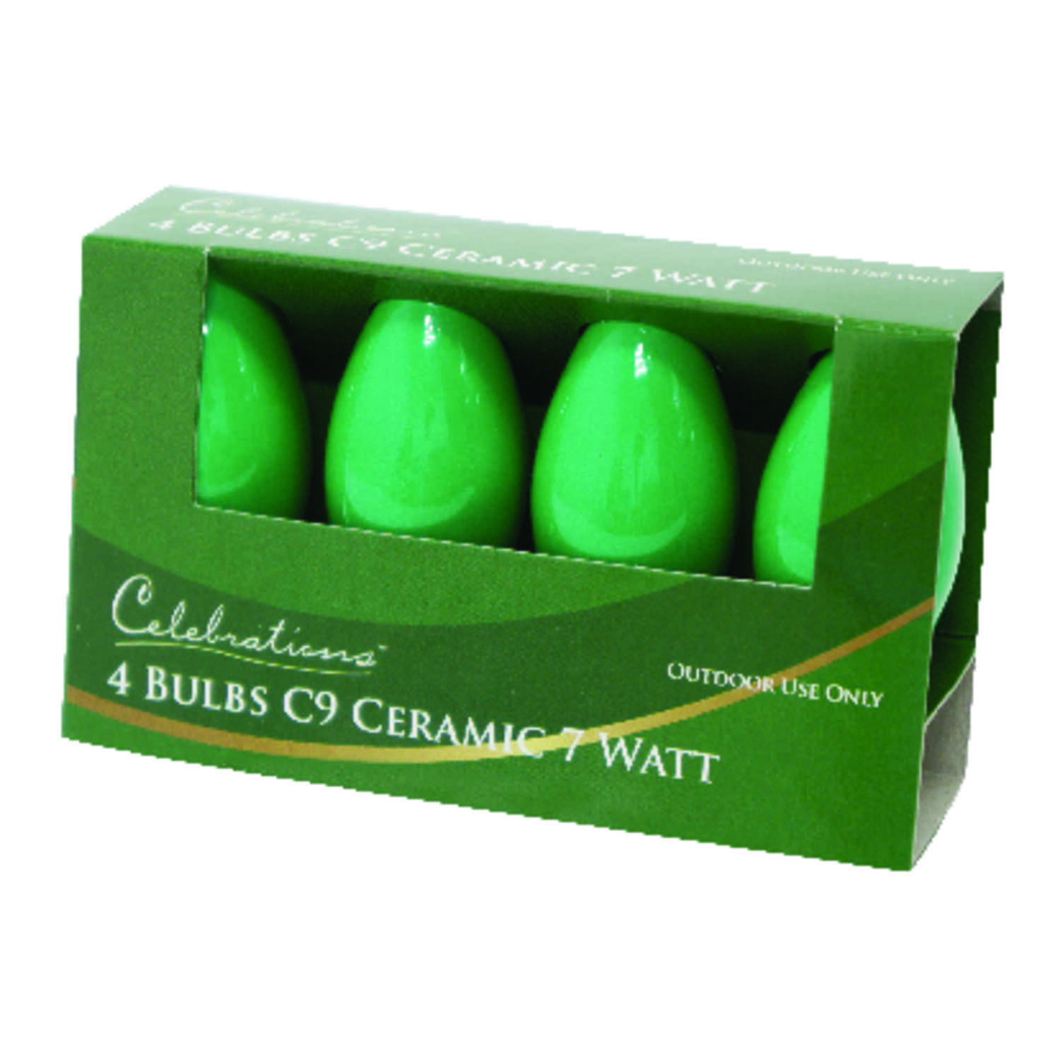 Celebrations  Incandescent  Ceramic C9  Replacement Bulb  Green  4 pk