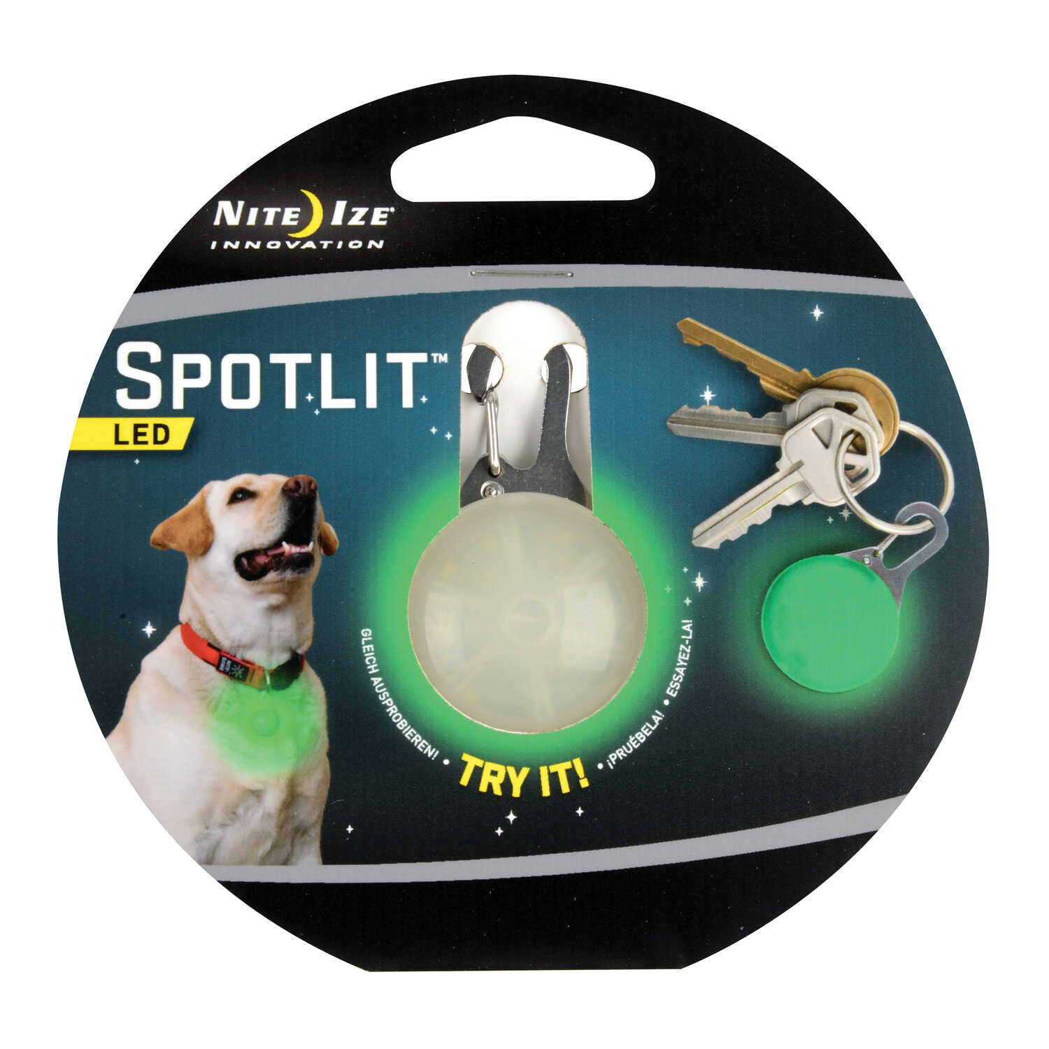 Nite Ize  SpotLit  Stainless Steel  LED Carabiner  Green