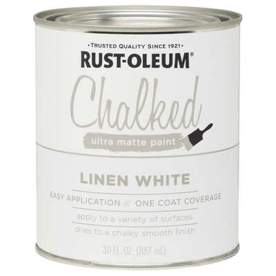 Rust-Oleum  Chalked  Ultra Matte  Linen White  Water-Based  Acrylic  Chalk Paint  30 oz.