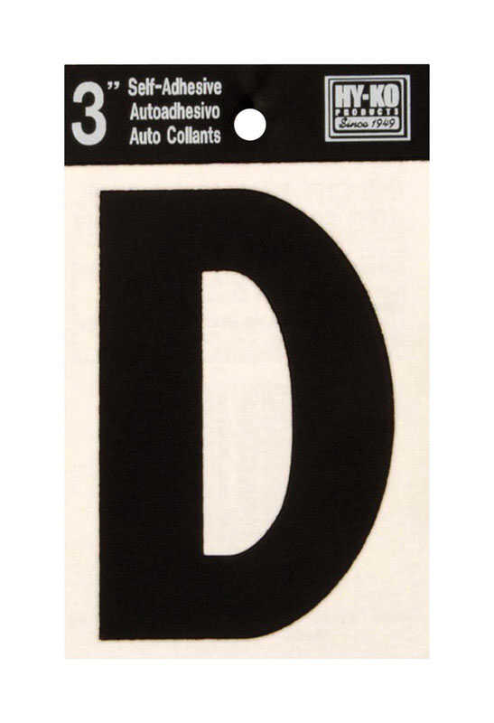 Hy-Ko  Black  D  Letter  Vinyl  Self-Adhesive  3 in.