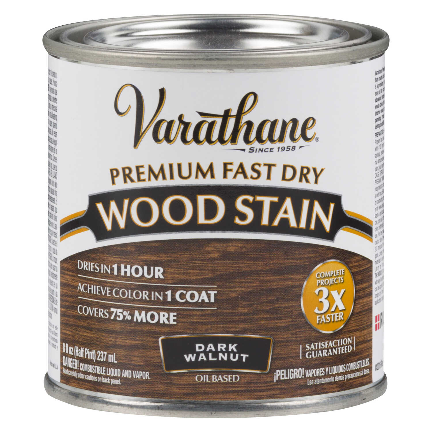 Varathane  Premium Fast Dry  Semi-Transparent  Dark Walnut  Wood Stain  0.5 pt.