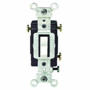 Leviton  Commercial Illuminated  15 amps Toggle  Switch  White  1 pk