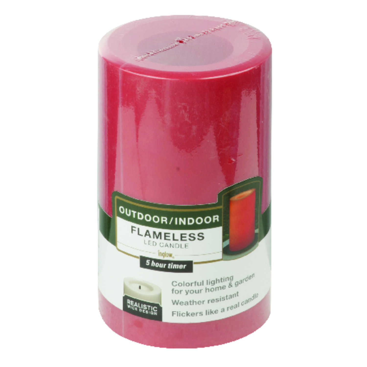 Paradise  Unscented Scent Red  Outdoor Pillar  Candle  5 in. H x 3 in. Dia.