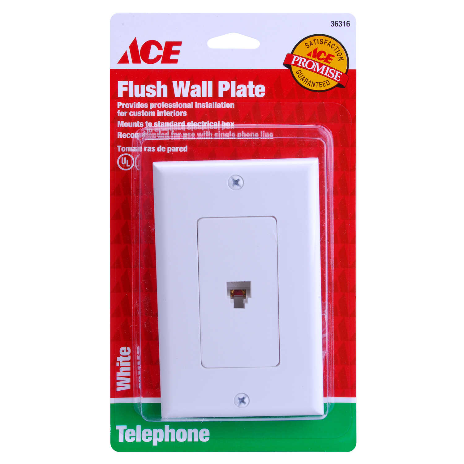 Ace  White  1 gang Plastic  Telephone  Wall Plate  1 pk