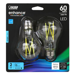 Feit Electric  Enhance  A19  E26 (Medium)  Filament LED Bulb  Daylight  60 Watt Equivalence 2 pk
