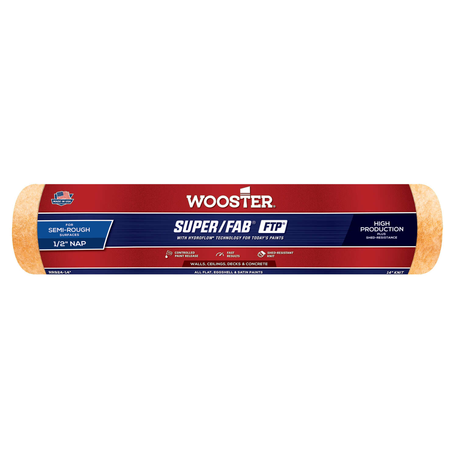 Wooster Super/Fab FTP Synthetic Blend 14 in. W x 1/2 in. Paint Roller Cover 1 pk