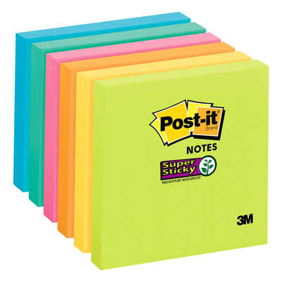 Post-It 3 in. W x 3 in. L Assorted Sticky Notes 1 pad