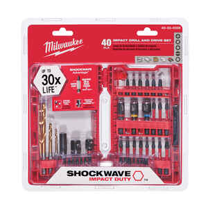 Milwaukee  SHOCKWAVE  Assorted  Screwdriver Bit Set  1/4 in. 40 pc. Steel  Impact Duty  Hex Shank