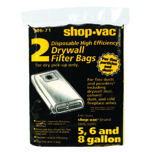 Shop-Vac  12.3 in. L x 9.5 in. W Wet/Dry Vac Drywall Filter Bag  5-8 gal. Yellow  2 pk