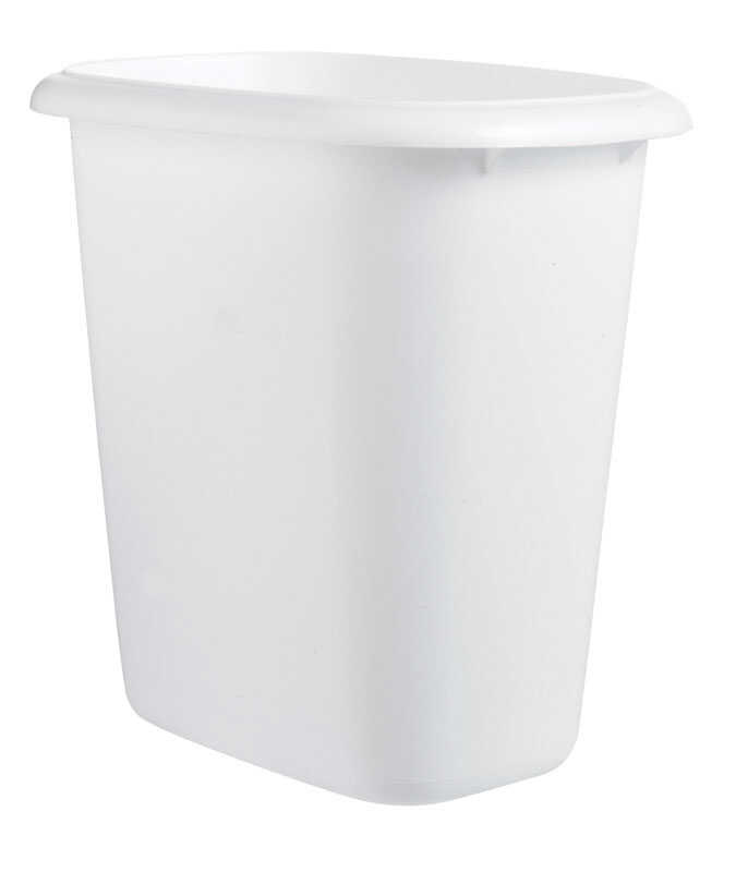 Rubbermaid  1.5 gal. White  Oval  Wastebasket
