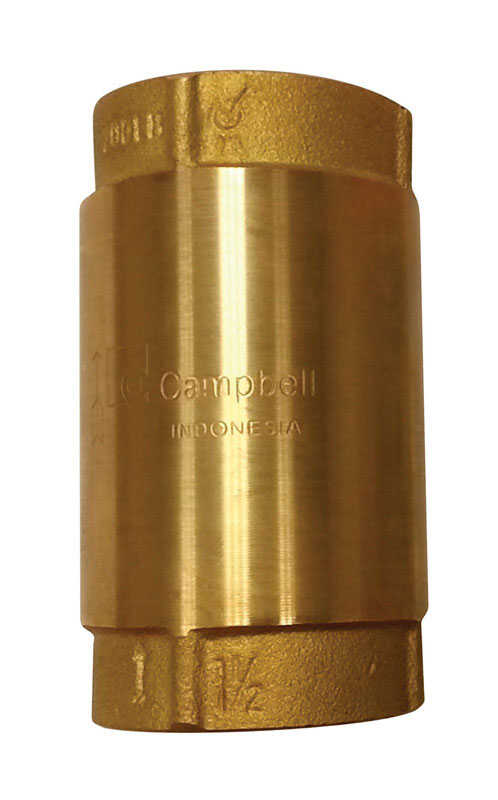 Campbell  1-1/2 in.  Yellow Brass  Spring  Check Valve