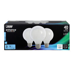 Feit Electric  Enhance  G25  E26 (Medium)  Filament LED Bulb  Daylight  40 Watt Equivalence 3 pk