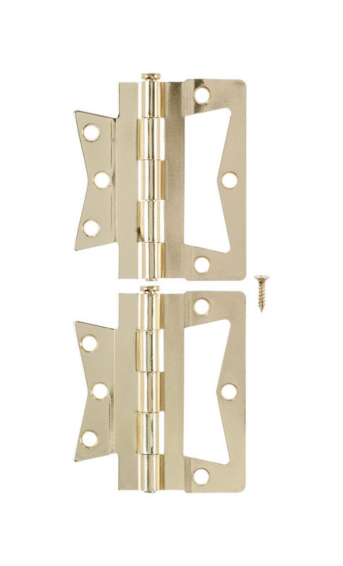 Ace  3.75 in. W x 4 in. L Bright Brass  Brass  Non-Mortise Hinge  2 pk