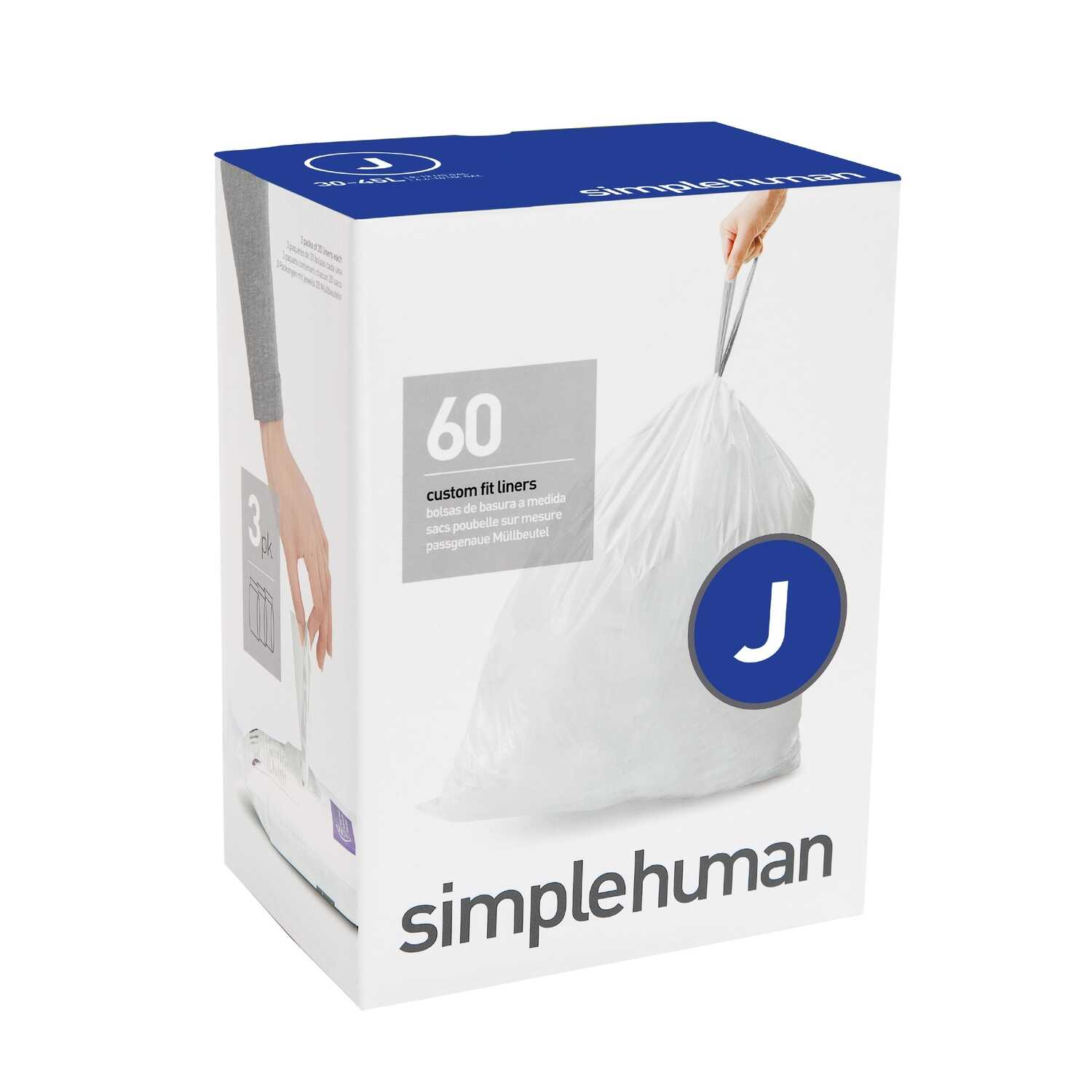simplehuman  Custom Fit Code J  8-12 gal. Trash Bag Liner  Drawstring  60 pk