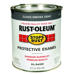 Rust-Oleum Stops Rust Indoor and Outdoor Gloss Smoke Gray Oil-Based Protective Paint 1 qt.