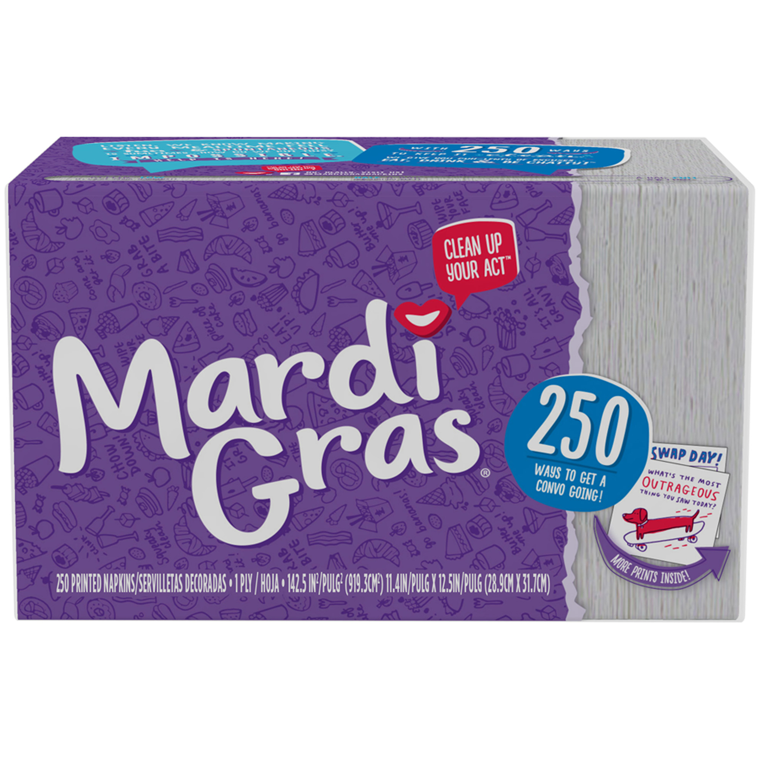 Mardi Gras  Dinner Napkins  250 sheet 1 Ply 250 sheet