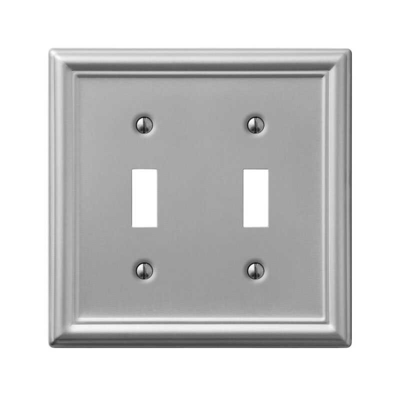 Amerelle  Chelsea  Brushed Nickel  2 gang Stamped Steel  Toggle  Wall Plate  1 pk