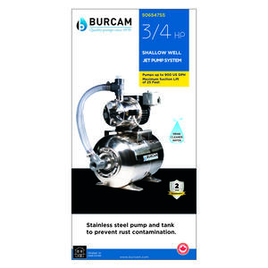 Burcam  Stainless Steel  Shallow Well Jet Pump  3/4 hp 900 US GPH  115/230 volt