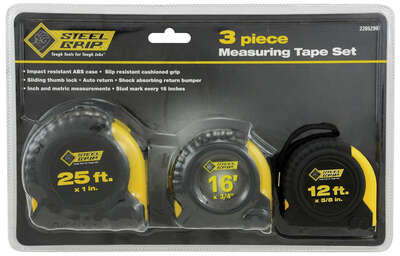 Steel Grip  25 ft. L x 1 in. W Tape Measure Set  3 pk