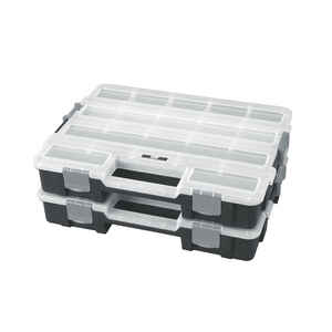 Ace  2-5/8 in. L x 11-3/8 in. W x 14-3/4 in. H Interlocking Organizer  Plastic  17 compartment Gray