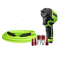 Flexzilla  1/2 in. drive Mini  Air Impact Wrench  Kit 90 psi 700 ft./lbs. 9500 rpm