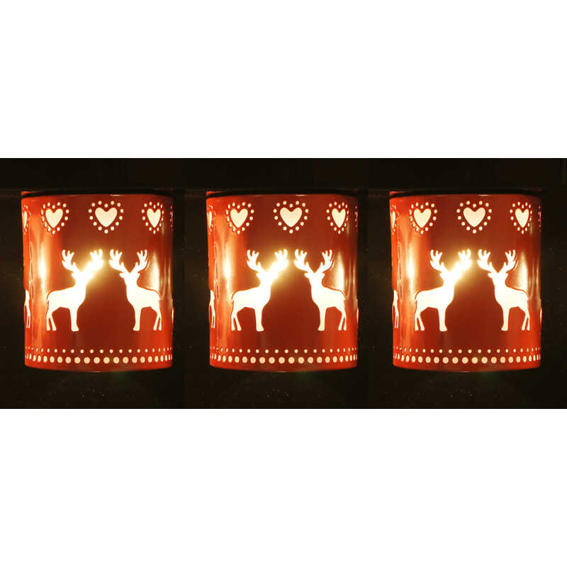 Sienna  Deer/Heart Lantern  Christmas Decoration  Red  Metal  1 pk