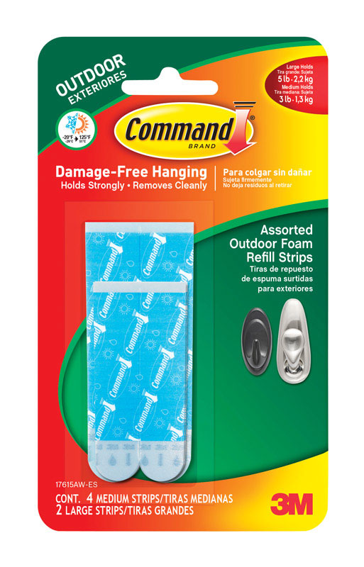 3M  Command  Assorted  Foam  Adhesive Strips  1-3/4 in. L 6 pk