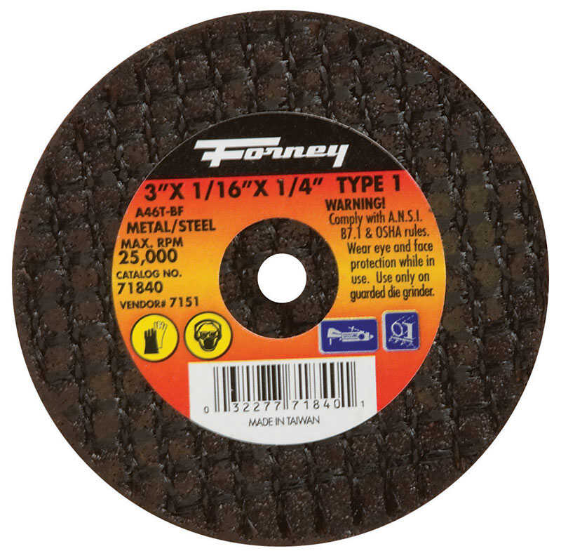 Forney  3 in. Aluminum Oxide  Metal Cut-Off Wheel  1/16 in.  x 1/4 in.  1 pc.