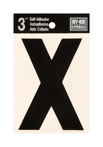 Hy-Ko  3 in. Black  Vinyl  Letter  X  Self-Adhesive  1 pc.
