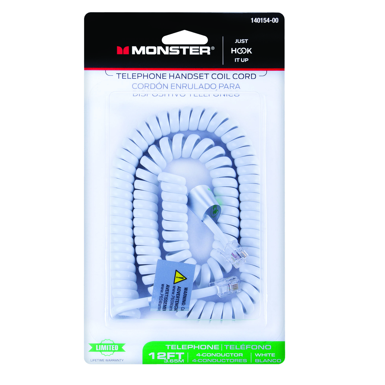 Monster Cable  12 ft. L White  Telephone Handset Coil Cord