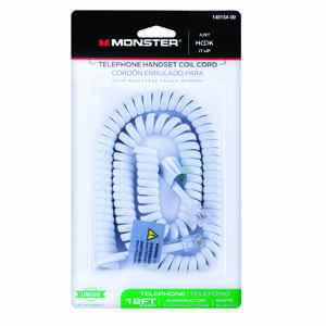Monster Cable  Just Hook It Up  12 ft. L White  Telephone Handset Coil Cord