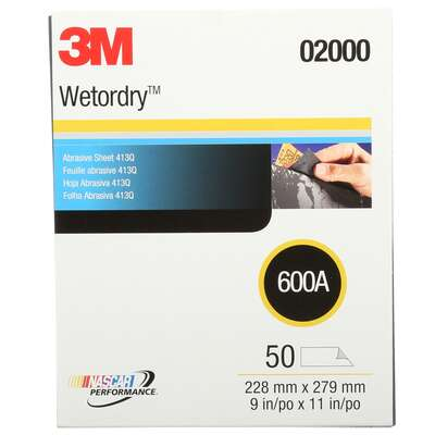 3M  Wetordry  11 in. L x 9 in. W 600 Grit Silicon Carbide  Sanding Sheet  50 pk