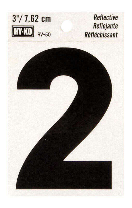 Hy-Ko 3 in. Reflective Black Vinyl Self-Adhesive Number 2 1 pc.