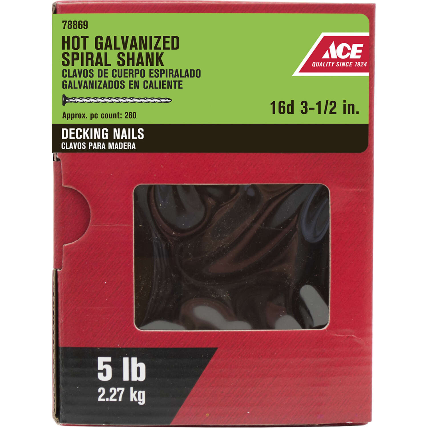 Ace  16D  3-1/2 in. Deck  Hot-Dipped Galvanized  Steel  Nail  Flat  5 lb.