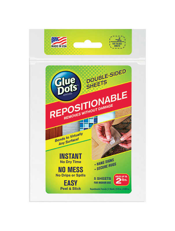 Glue Dots  Repositionable Double-Sided  Medium Strength  Glue  Adhesive  5 sheet