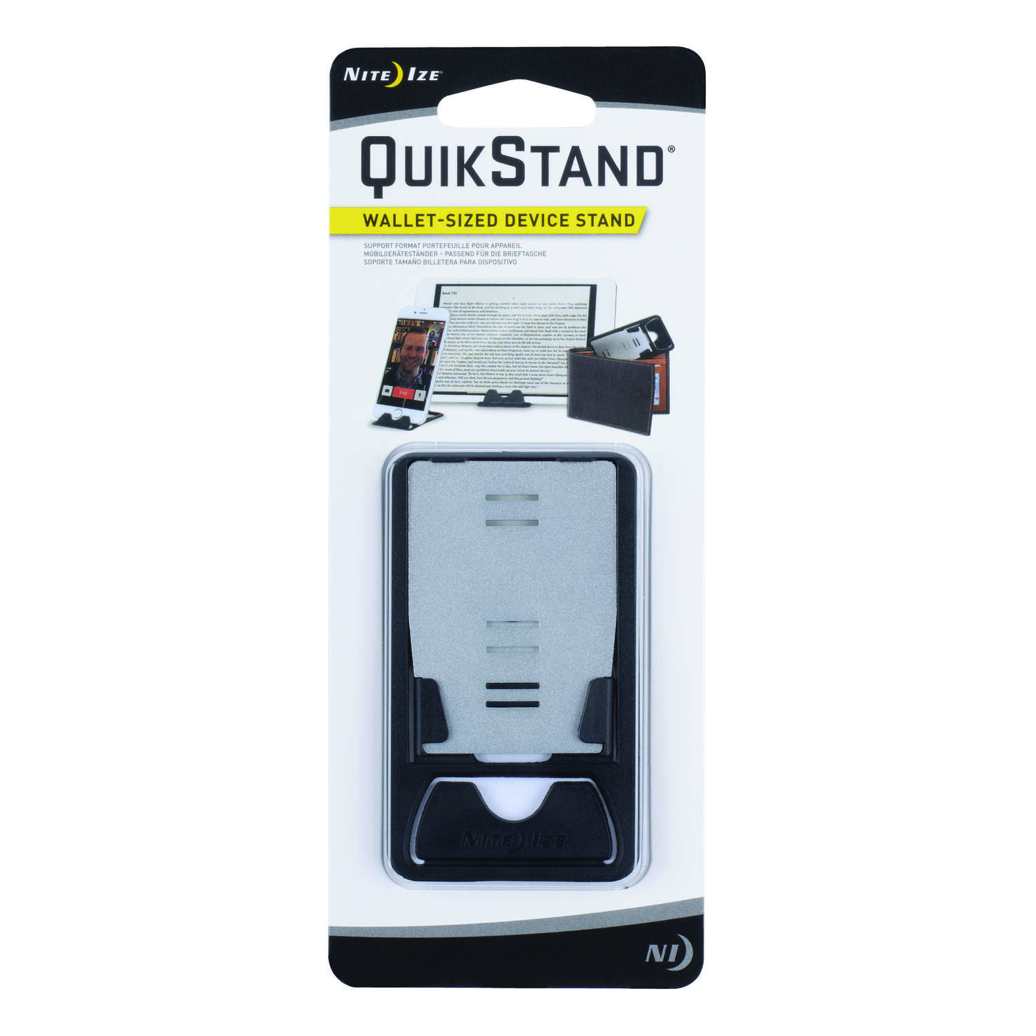 Nite Ize  QuickStand  Black/Silver  Phone Stand  Universal