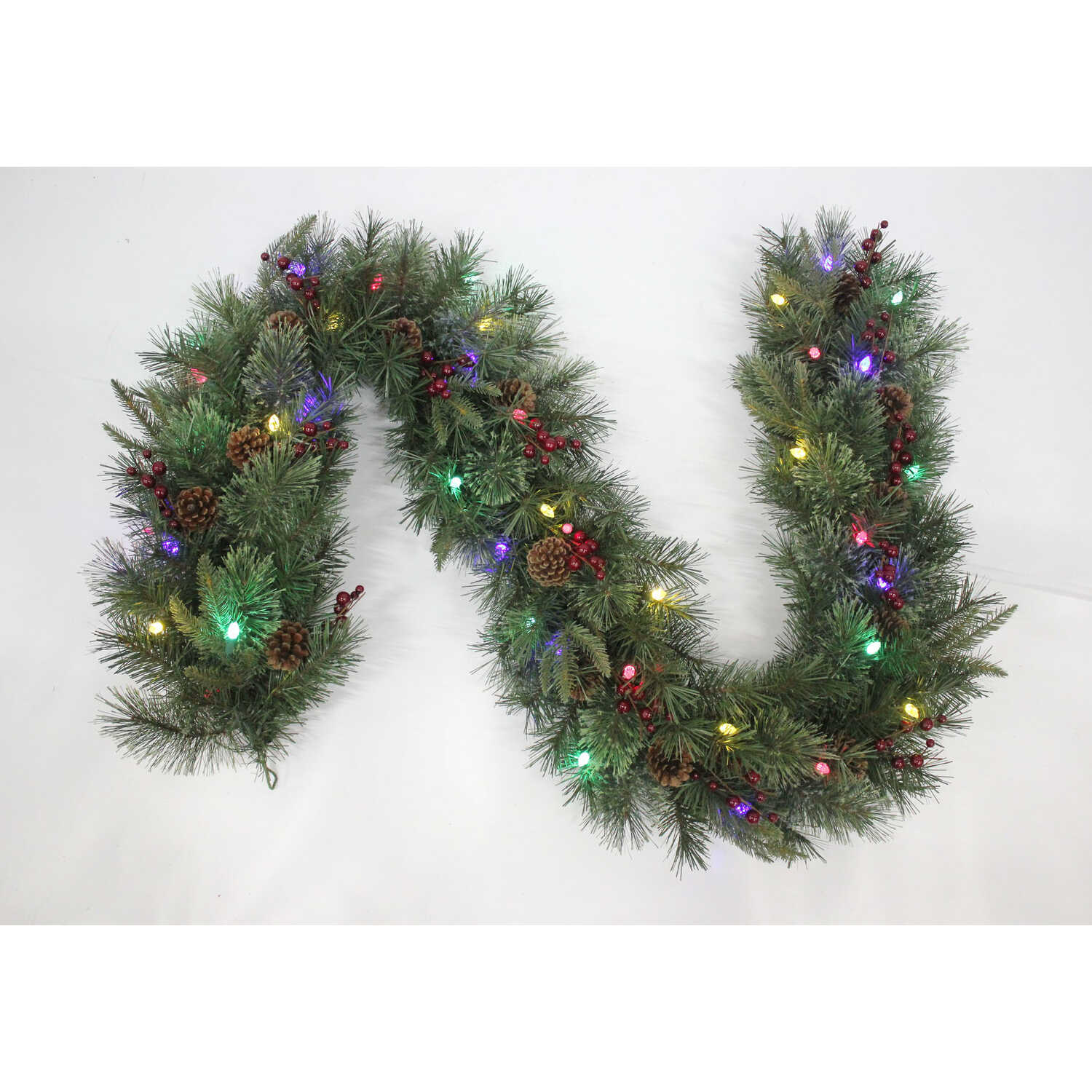 J & J Seasonal  Prelit Green  Hyde Park Garland  12 in. Dia. x 6 ft. L Multicolored